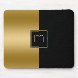 Elegant Gold & Black Geometric Design Mouse Mat