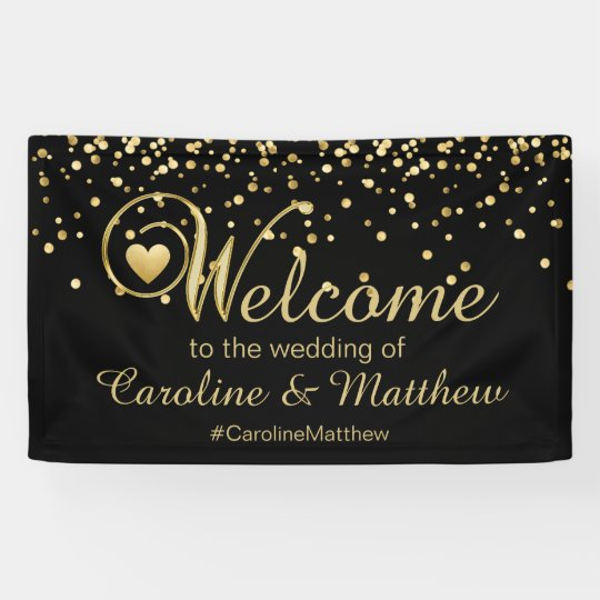 Elegant Gold Black Heart Welcome Wedding Banner