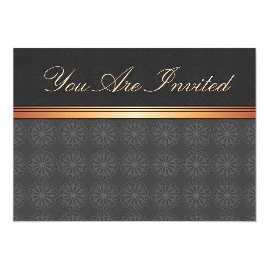 Elegant Gold Black Invitation Card