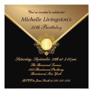 Elegant Gold Black Ladies 50th Birthday Invitation