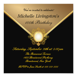 Elegant Gold Black Ladies Party Invitations