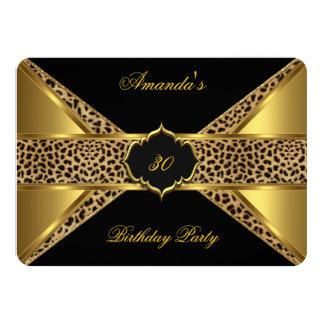Elegant Gold Black Leopard 30th Birthday Party 2 Announcement