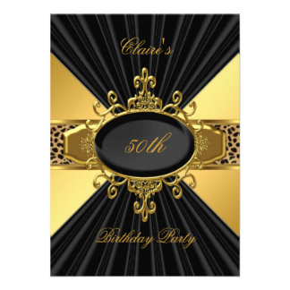 Elegant Gold Black Leopard 50th Birthday Party 2 Personalized Invitations