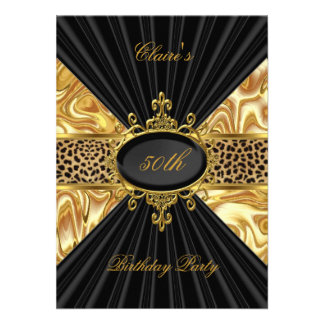 Elegant Gold Black Leopard 50th Birthday Party 3 Personalized Announcements