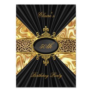 Elegant Gold Black Leopard 50th Birthday Party 3 4.5x6.25 Paper Invitation Card