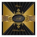 Elegant Gold Black Leopard 50th Birthday Party 13 Cm X 13 Cm Square Invitation Card
