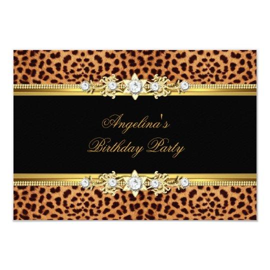 Elegant Gold Black Leopard Birthday Party Card
