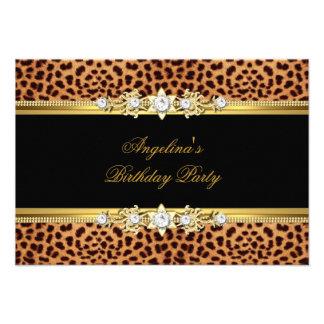 Elegant Gold Black Leopard Birthday Party Invites