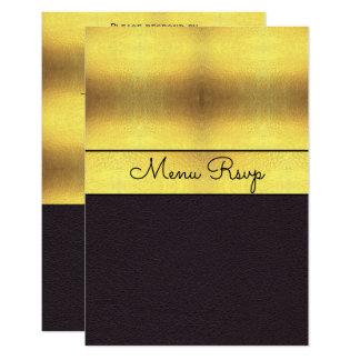 Elegant Gold & Black Menu RSVP Card