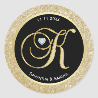 Elegant Gold Black Monogram Letter 'K' Wedding Classic Round Sticker