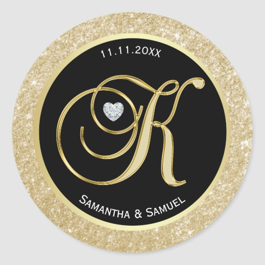 Elegant Gold Black Monogram Letter 'K' Wedding Classic