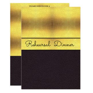 Elegant Gold & Black Rehearsal Dinner Card