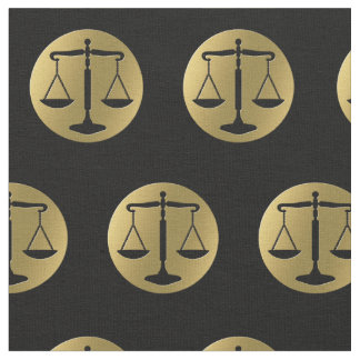 Elegant Gold Black Scales of Justice | Lawyer Fabric