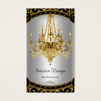 Elegant Gold Black Silver Chandelier Interior Business Card