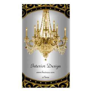 Elegant Gold Black Silver Chandelier Interior Pack Of Standard Business Cards
