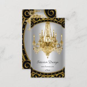 Elegant Gold Black Silver Chandelier Interior Business Card