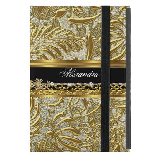 Elegant Gold Black Silver Damask Fashionable iPad Mini Cover