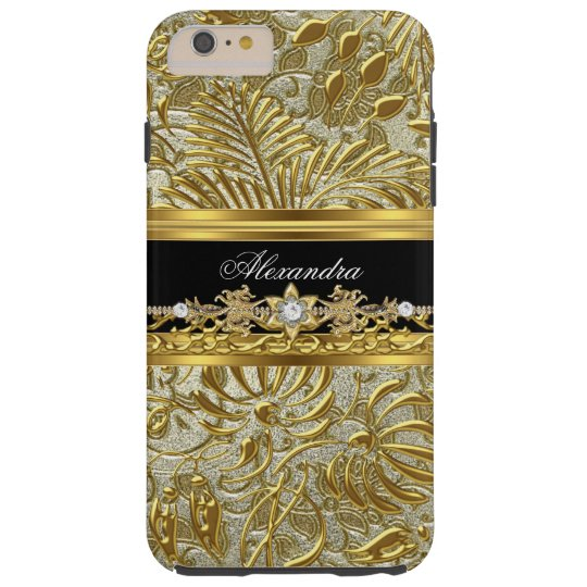 Elegant Gold Black Silver Damask Tough iPhone 6