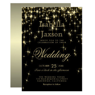 Elegant Gold & Black Starlights Wedding Invitation