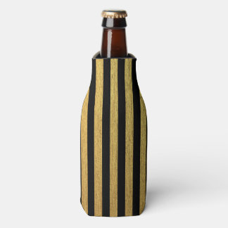 Elegant gold black striped pattern bottle cooler
