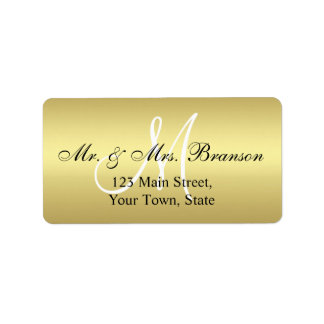 Elegant Gold Black Wedding Address Labels Monogram