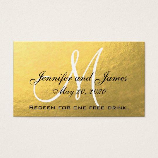 Elegant Gold Black Wedding Free Drink Card
