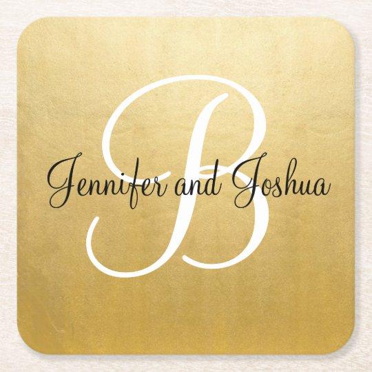 Elegant gold black wedding gift favours - Monogram