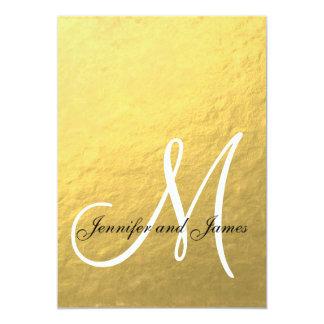 Elegant Gold Black Wedding Invitation Initial
