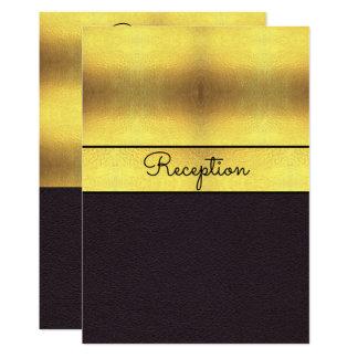 Elegant Gold & Black Wedding Reception Card