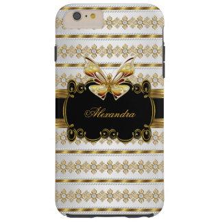 Elegant Gold Black White Jewel Stripe Butterfly Tough iPhone 6 Plus Case