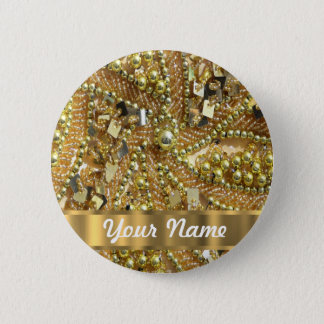 Elegant gold bling 6 cm round badge