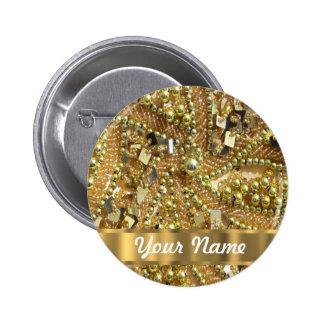 Elegant gold bling 6 cm round badge