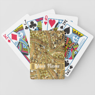 Elegant gold bling bicycle playing cards