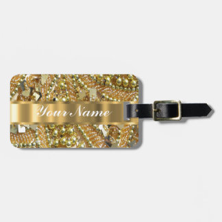 Elegant gold bling luggage tag