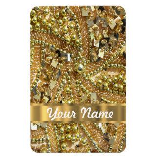 Elegant gold bling rectangular photo magnet