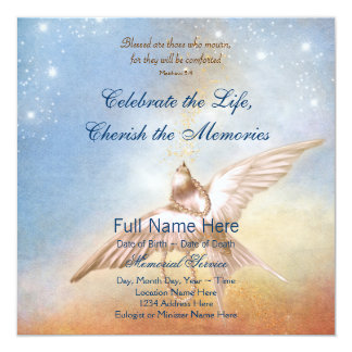 Elegant Gold Blue Dove In Loving Memory Memorial Card