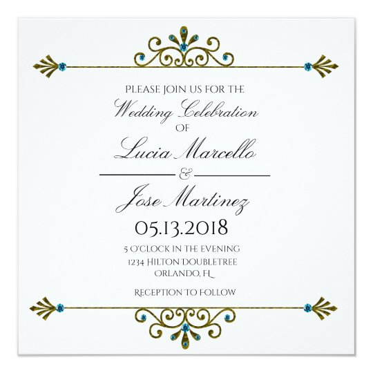 Elegant Gold Border Calligraphy Wedding Invitation