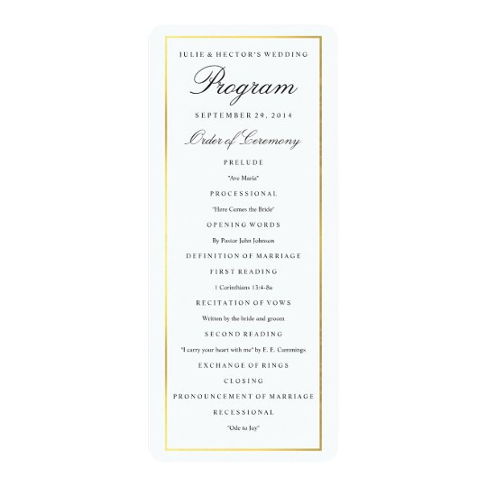 Elegant Gold Border Wedding Program Template