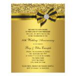 Elegant Gold Bow 50th Anniversary Party Custom Invitations
