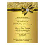 Elegant Gold Bow 50th Anniversary Party Custom Announcements