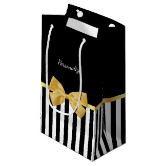 Elegant Gold Bow Black and White Stripes With Name Small Gift Bag