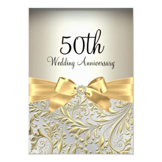 Elegant Gold Bow & Floral Swirl 50th Anniversary Card