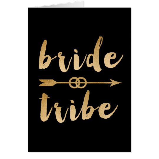 elegant gold bride tribe arrow wedding rings card