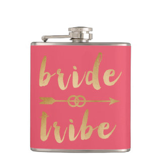 elegant gold bride tribe arrow wedding rings hip flask