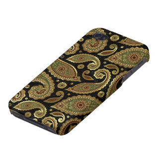 Elegant Gold Brown & Green Pastel  Vintage Paisley Cover For iPhone 4
