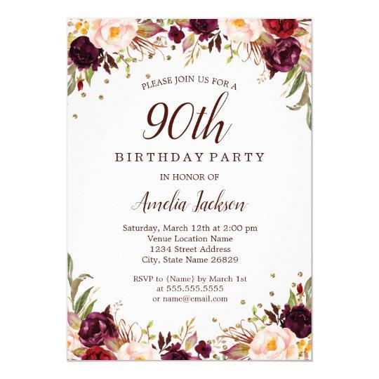 Elegant Gold Burgundy Floral 90th Birthday Party Invitation