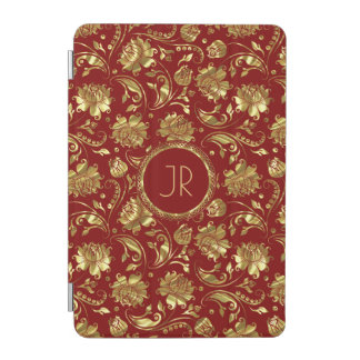 Elegant Gold & Burgundy Floral Damasks iPad Mini Cover