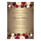 Elegant Gold Burgundy Rose Quinceanera Invite