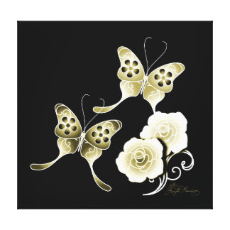 Elegant Gold Butterflies And Roses Canvas Print