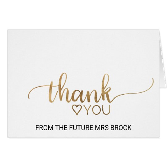 Elegant Gold Calligraphy Bridal Shower Thank You Card